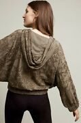 Nwt Anthropologie Jacket Hooded Olive Tonal Embroidered Dolman Sleeve Zip Up L