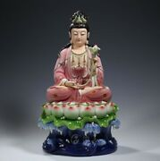 19and039and039 Dehua Painting Porcelain Home Fengshui Lotus Base Mahasthamaprapta Guanyin