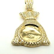 10k Yellow Gold And Diamond Money Bag Picture Pendant