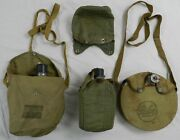 Vintage Canteens And Carry Sack/pouch, Palco And Military Aluminum, Lot Of 3