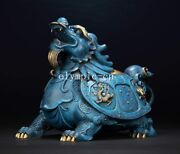 12and039and039bronze Copper Fine Workmanship Carvings Home Fengshui Dragon Turtle Tortoise