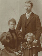 Handsome Young Parents With Young Daughter. Great Clothes. Cabinet Card.