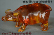Old Chinese Artificial Amber Feng Shui 12 Zodiac Year Animal Ox Bull Oxen Statue