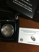 2014 P - National Baseball Hall Of Fame Silver Dollar Uncirculated Dome Bu Coin