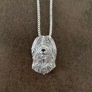 Briard Dog Shape Pendant With 18 Silver Necklace Free Gift Bag