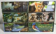 Lot Of 6 Keepsakes Deluxe Puzzle With Boxes Puppies Kittens Landscapes 500/1kandnbsp
