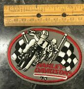 Vintage Harley Davidson Patch Racing Bikes With Racing Flags Red Border
