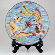 12and039and039pure Copper Gold Cloisonne Enamel Handcraft Painting Dragon Phoenix Plate