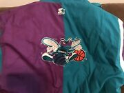 Official Nba Starter Jacket Charlotte Hornets 90and039s Zip Up Hooded Adult Xl