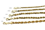 14kt Solid Yellow Gold Rope Chain Necklace 2mm-5mm Mens Women 7-30
