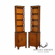 Vintage 1930and039s Adams Style Paint Decorated Satin Wood Narrow Bookcases
