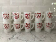 Tom And Jerry Mugs/cups. Mckee. Red And White. Milk Glass 3.5 10