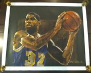 Stephen Holland Print Magic Serigraph Canvas Signed By Magic Johnson And Holland