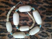 Vintage Antique African Necklace Bone Horn Turquoise Large Beads 22.5 Inch