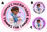 Doc Mcstuffins Round Labels Birthday Party Stickers Favors Personalized Custom