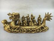 19'' Brass Copper Chinese Myth Eight Immortals Crossing The Sea By Dragon Boat
