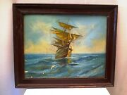 Antique Painting Sailing Ship In Rough Sea Boat Marine Seascape By S.b.mistri
