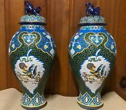 A Pair Of 19th Century Porcelain Antique French Vases With Enamel Overlay