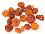 Rare And Precious Antique African Mali Natural Amber Beads - For Necklace