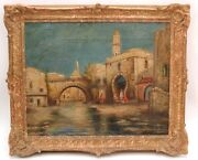 Antique Orientalist Oil Painting - Middle East Riverside Town - Late 1800s