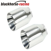 Pair 2.5 Stainless Round Exhaust Tips 2 1/2 Inlet / 4 Outlet / 5 Long