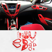 2012-2017 For Hyundai Veloster Abs Red Interior Accessories Kit Covers Trim 15pc