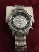 Mens Techno Master Diamond Watch Fully Loaded Diamond Band Stainless Steel