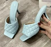 Women Shoes Summer Mules Design Slippers Sandals Square Sole Slides High Heel