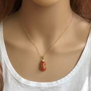 14k Solid Yellow Gold Bow Bottle Gourd Natural Red Jade Pendant Necklace - P462