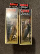 Lot Of 2 Discontinued Rapala Fr-5 Sg Silver Plated Gold Fat Raps