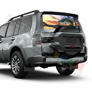Fishing Decals Rear Window See Thru Stickers Perforated For Mitsubishi Pajero