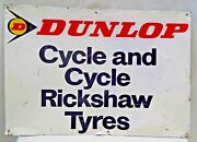 Dunlop Tire Advertise Sign Vintage Tin Cycle And Cycle Rickshaw Tyre Collectib1