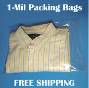 Poly Clear Plastic Bags T-shirt Clothing Apparel Open Top 1-mil Shirt Baggies