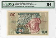 Indonesia Rp 1000 Rupiah Pmg Unc-64 1952 P-48 Banknote Rare Paper Money