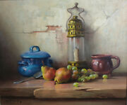 Robert Chailloux 1913 - 2005 Oil Painting On Canvas, Still Life With Lantern