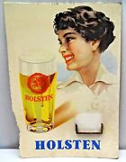 Holsten Beer Germany Vintage Sign Cardboard Beer Glass With Lady Collectibles Ad