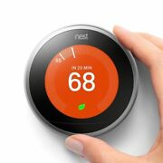 Google Nest 3rd Generation Learning Thermostat T3007es Stainless Steel W/base