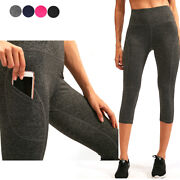 Womens High Waist Tummy Control Leggings With Two Pockets 3/4 Length For Running