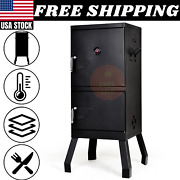 Outdoor Vertical Charcoal Smoker Bbq Barbecue Grill W/ Temperature Gauge Black