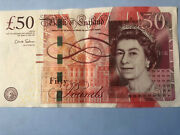 Bank Of England £50 Banknote, Collectible Treble 6 Serial Number Ae47 185666