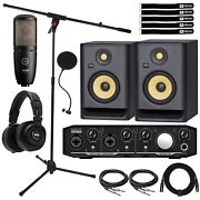 Home Recording Mackie Onyx Producer Audio Interface Rp5g4 Speakers And Mic
