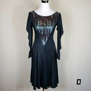 Casadei Vintage 80and039s Black Sequin Draped Sleeve Party Dress Sz 6/s C1717