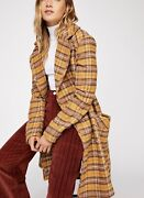 Free People Plaid Coat Long Oversized Double Breast Wool Blend Gold Brown L New