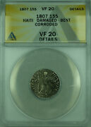 1807 15s Haiti Anacs Vf 20 Details Damage Bent Corroded 15 Sols Silver Coin Km6