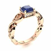 Victorian Style 14k Rose Gold Cushion Cut Genuine Blue Sapphire Engagement Ring