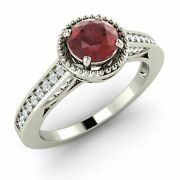 Genuine Garnet And Si Diamond Vintage Look Engagement Ring 14k White Gold-0.80 Ct