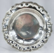 Antique Spanish Colonial Chippendale Style Silver Saucer Bowl South American