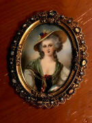 Henrietta Of France Victorian Period Hand Painted Enamel On Gilded Bronze Broach