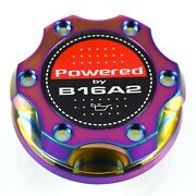 V2 Neo Chrome Billet Oil Filler Cap Powered By B16a2 Emblem For Honda And Acura