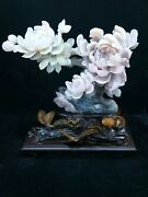 Natural Dushan Jade Hand-carved Home Feng Shui Auspicious Peony Flower Statue